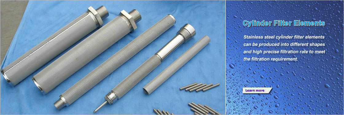 Five different shapes and sizes stainless steel cylinder filter elements on blue cloth