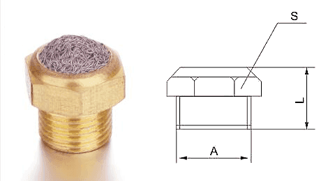 Type A compressed knitted brass silencer and its drawing reference.