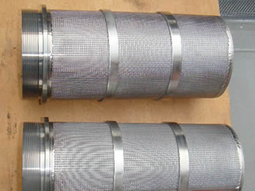 Two customized stainless steel cylinder filter element