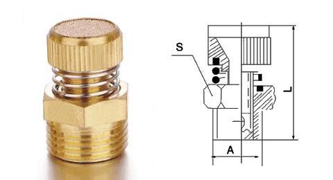 Type A exhaust muffler throttle valve and its drawing reference.