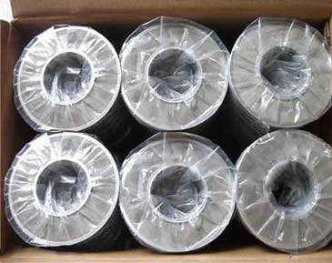 Many toroidal shape filter disc packed with plastic bags in carton
