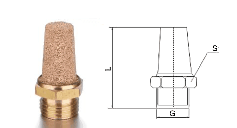 Type A powder sintered brass silencer and its drawing reference.