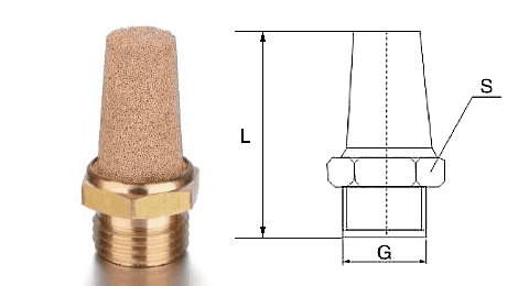Type B powder sintered brass silencer and its drawing reference.