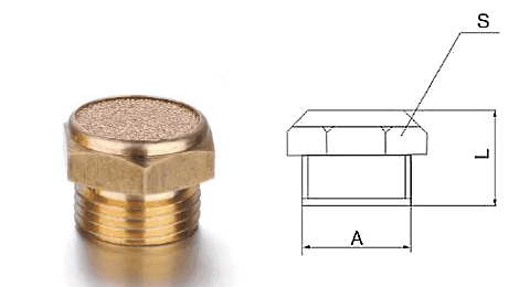 Type C powder sintered brass silencer and its drawing reference.
