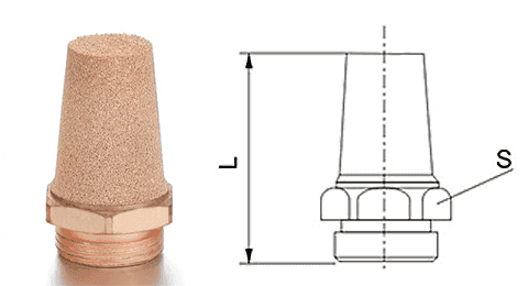 Type F powder sintered brass silencer and its drawing reference.