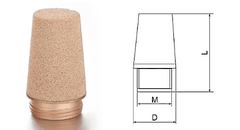 Type G powder sintered brass silencer and its drawing reference.