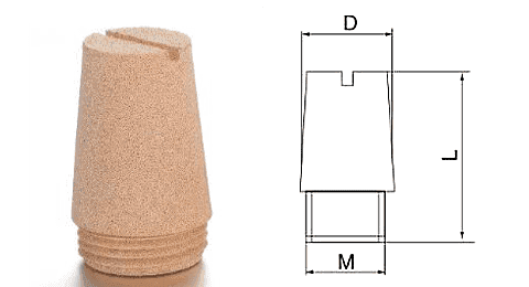 Type J powder sintered brass silencer and its drawing reference.