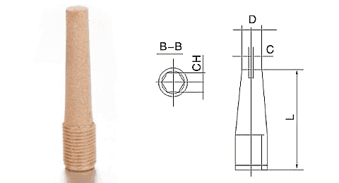 Type K powder sintered brass silencer and its drawing reference.