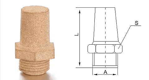 Type L powder sintered brass silencer and its drawing reference.