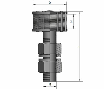 A single head V wire tube flowing filter nozzle drawing about its length, height, diameter