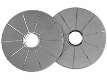 Two stainless steel sintered leaf filters