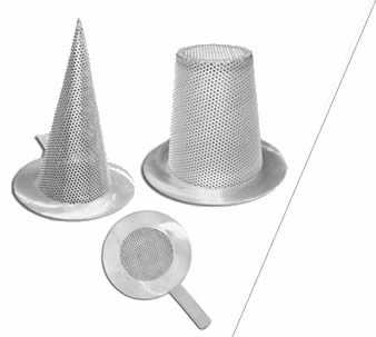 Conical, basket, flat types stainless steel temporary filter